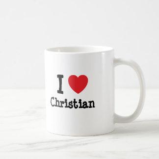 Amo la camiseta cristiana del corazón tazas de café