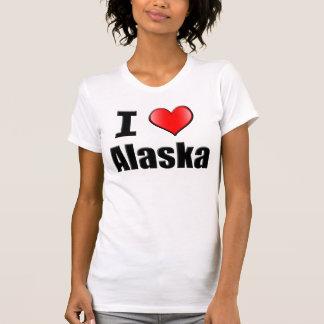 Amo la camiseta de Alaska para las mujeres Remera