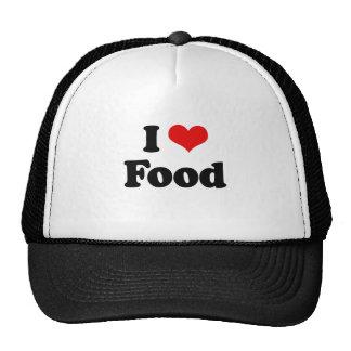 Amo la camiseta de la comida gorros bordados