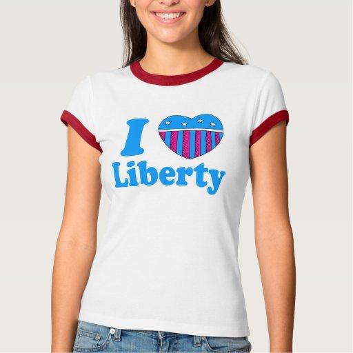 Amo la camiseta de la libertad playera