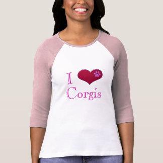 Amo la camiseta de las señoras rosadas de los Corg