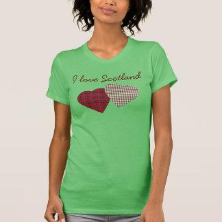 Amo la camiseta de los corazones del tartán de Esc