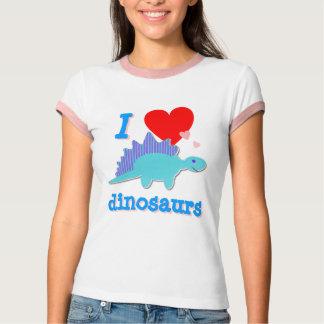 Amo la camiseta de los dinosaurios polera