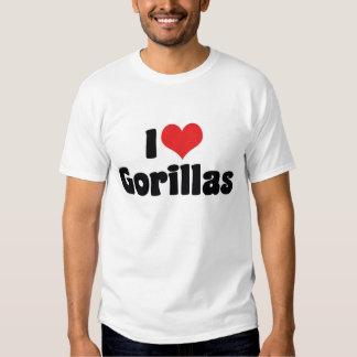 Amo la camiseta de los gorilas playera