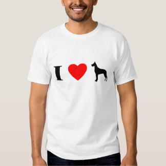 Amo la camiseta de los grandes daneses playera