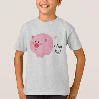 Amo la camiseta de los niños de los cerdos remeras