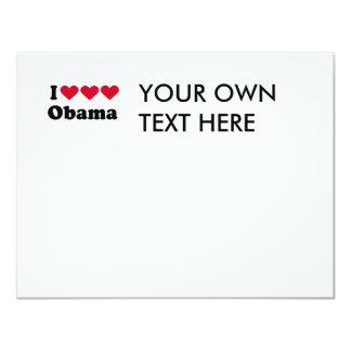 """Amo la camiseta de Obama del amor del amor Invitación 4.25"""" X 5.5"""""""