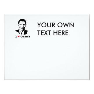 """Amo la camiseta de Obama Invitación 4.25"""" X 5.5"""""""