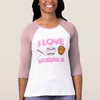 AMO la camiseta del béisbol de las mujeres del