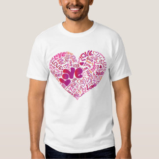 Amo la camiseta del chica de la tipografía remeras
