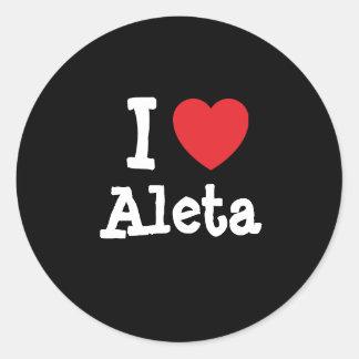 Amo la camiseta del corazón de Aleta Pegatina Redonda