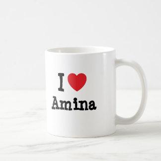 Amo la camiseta del corazón de Amina Tazas De Café