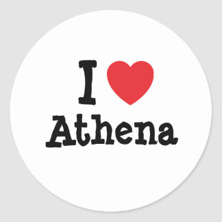 Amo la camiseta del corazón de Athena Pegatina Redonda
