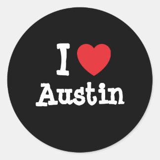 Amo la camiseta del corazón de Austin Pegatina Redonda