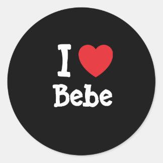 Amo la camiseta del corazón de Bebe Pegatinas Redondas