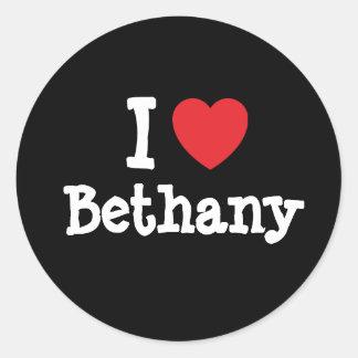 Amo la camiseta del corazón de Bethany Pegatina Redonda