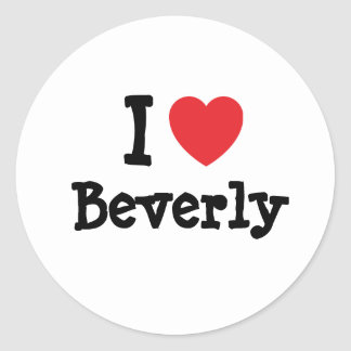 Amo la camiseta del corazón de Beverly Pegatina Redonda