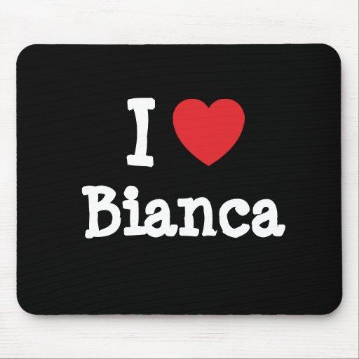 Amo la camiseta del corazón de Bianca Tapete De Ratón