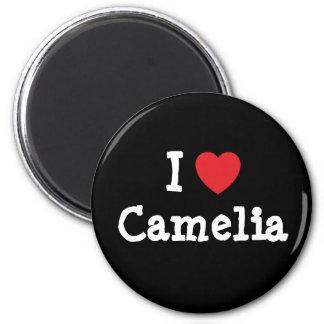 Amo la camiseta del corazón de Camelia Imán Redondo 5 Cm