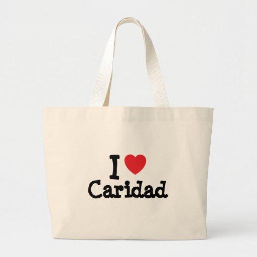 Amo la camiseta del corazón de Caridad Bolsa Tela Grande
