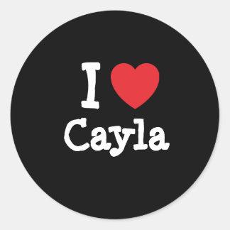 Amo la camiseta del corazón de Cayla Etiquetas Redondas