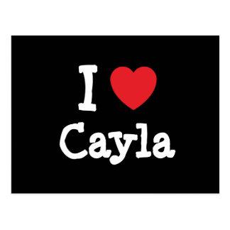 Amo la camiseta del corazón de Cayla Tarjeta Postal