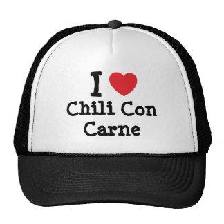 Amo la camiseta del corazón de chili con carne gorra