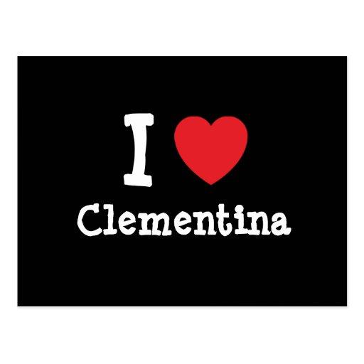Amo la camiseta del corazón de Clementina Postales