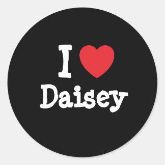 Amo la camiseta del corazón de Daisey Pegatina Redonda