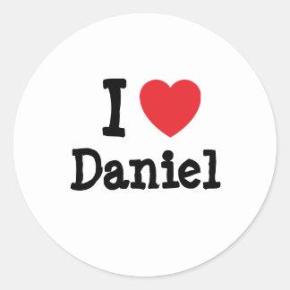 Amo la camiseta del corazón de Daniel Pegatina Redonda