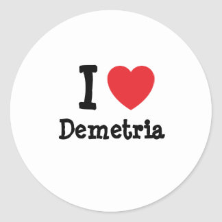 Amo la camiseta del corazón de Demetria Etiquetas
