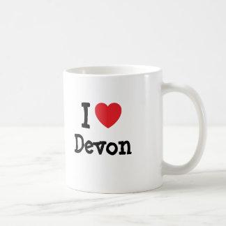 Amo la camiseta del corazón de Devon Taza Básica Blanca