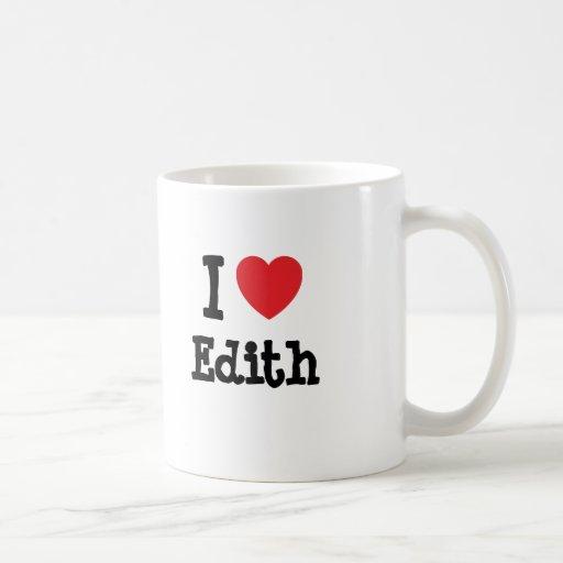 Amo la camiseta del corazón de Edith Tazas De Café