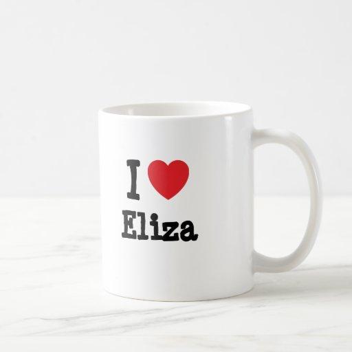 Amo la camiseta del corazón de Eliza Taza Básica Blanca