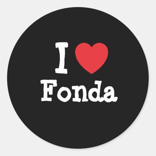Amo la camiseta del corazón de Fonda Etiqueta Redonda