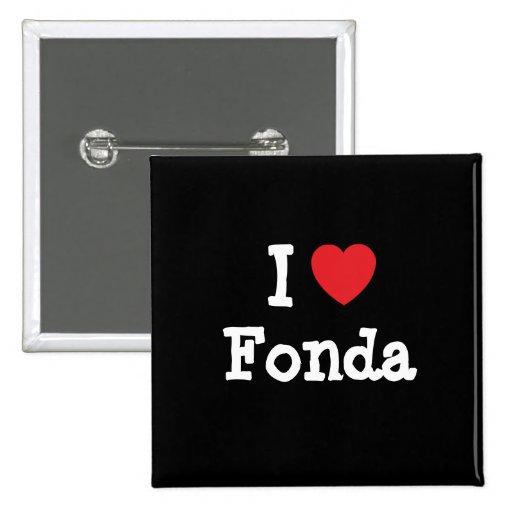 Amo la camiseta del corazón de Fonda Pin Cuadrada 5 Cm