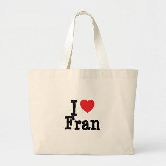 Amo la camiseta del corazón de Fran Bolsas