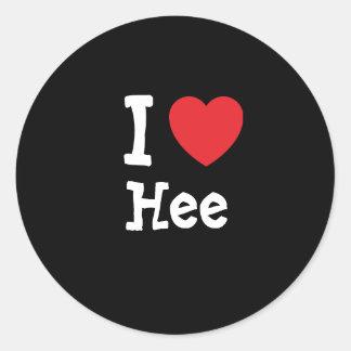 Amo la camiseta del corazón de Hee Pegatina Redonda