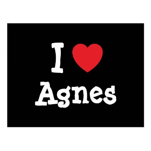 Amo la camiseta del corazón de Inés Tarjetas Postales
