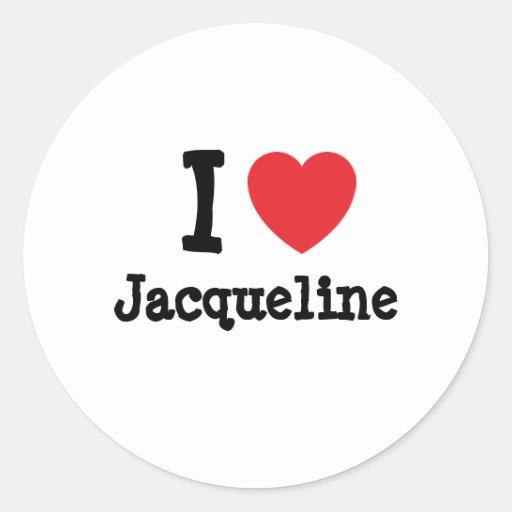 Amo la camiseta del corazón de Jacoba Pegatina Redonda