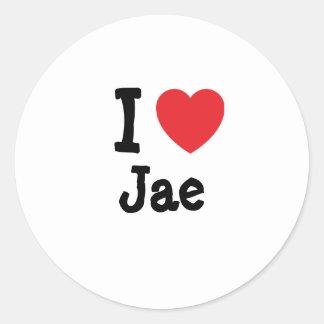 Amo la camiseta del corazón de Jae Pegatina Redonda