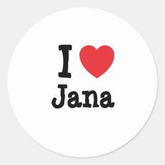 Amo la camiseta del corazón de Jana Etiqueta Redonda