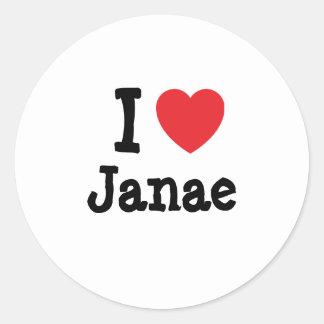 Amo la camiseta del corazón de Janae Pegatina Redonda
