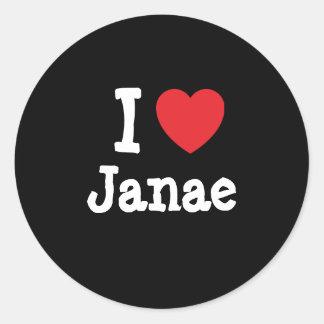 Amo la camiseta del corazón de Janae Pegatina