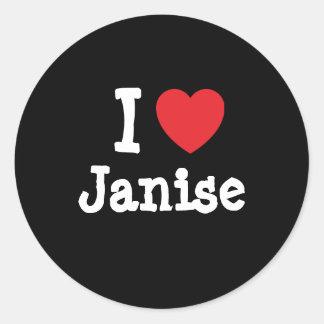 Amo la camiseta del corazón de Janise Etiqueta Redonda