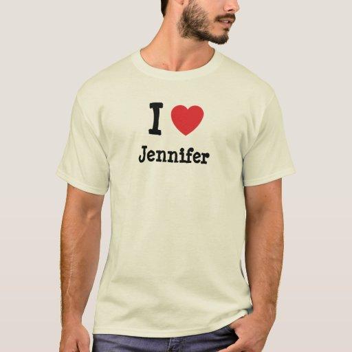 Amo la camiseta del corazón de Jennifer