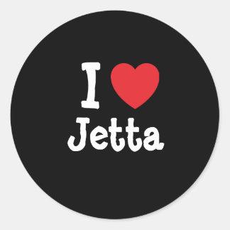 Amo la camiseta del corazón de Jetta Pegatina Redonda