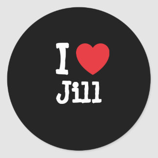Amo la camiseta del corazón de Jill Pegatina Redonda