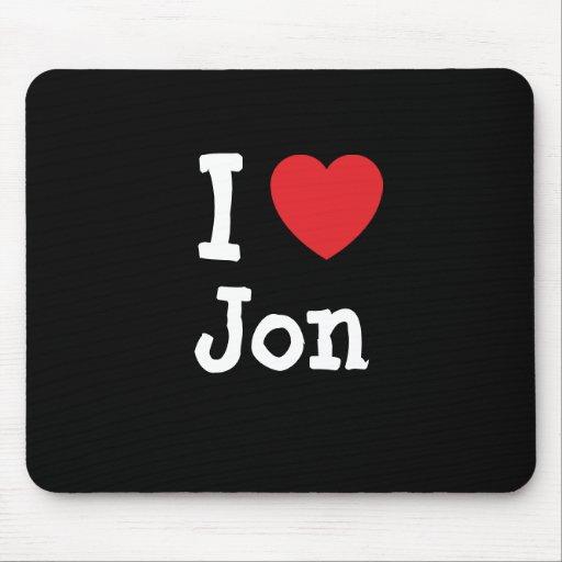 Amo la camiseta del corazón de Jon Alfombrillas De Raton