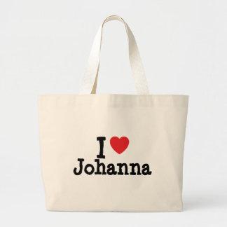 Amo la camiseta del corazón de Juana Bolsa Tela Grande